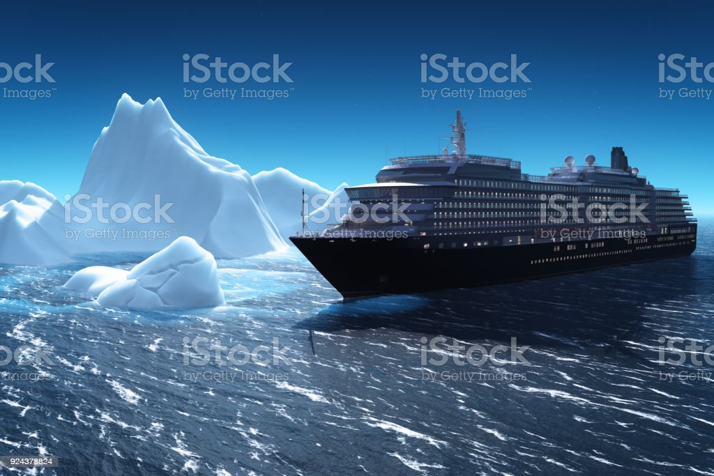 Cruise ship and iceberg stock photo