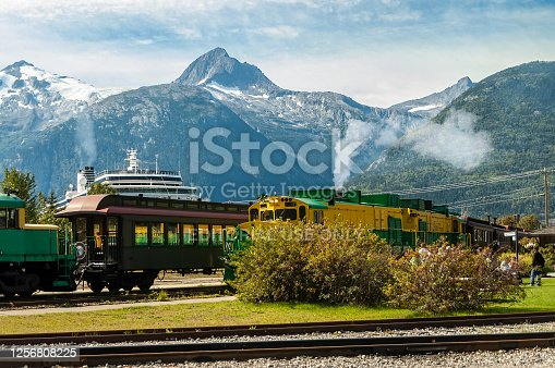istock Cruise ship and train at the train station in Skagway, Alaska, ready to start the train tour. 1256808225