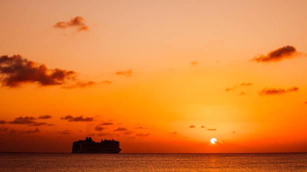 Cruise ship at sunset - Bridgetown, Barbados stock photo