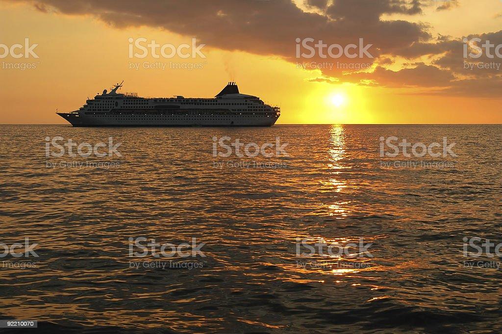 Cruise Ship At Sunset royalty-free stock photo