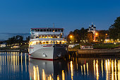 Cruise ship at the pier in the ancient Russian city of Uglich
