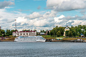 Uglich, Russia - June 30, 2019. Cruise ship at the pier in the ancient Russian city of Uglich