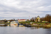Uglich, Russia - May 05, 2017. Cruise ship at the pier on the Volga river in the historical town Uglich