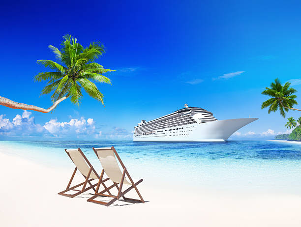 3d cruise ship at tropical beach - caribbean stock pictures, royalty-free photos & images