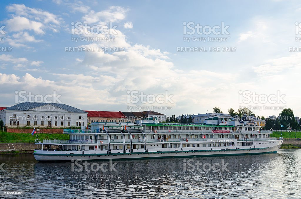 Cruise ship Athanasius Nikitin on river quay in Rybinsk, Russia stock photo