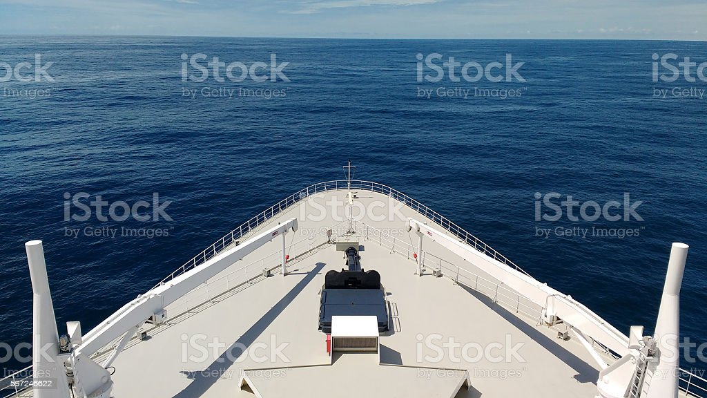 Cruise Ship Bow and Ocean stock photo