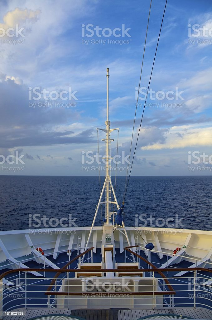 Cruise Ship Bow on the Open Seas royalty-free stock photo