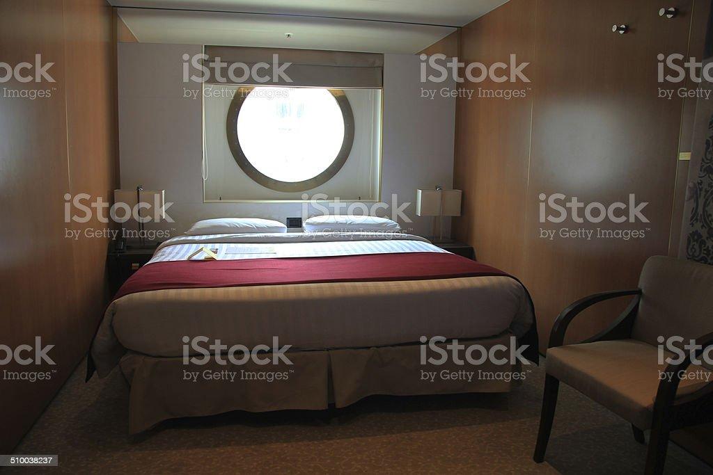 Cruise ship cabin interior stock photo