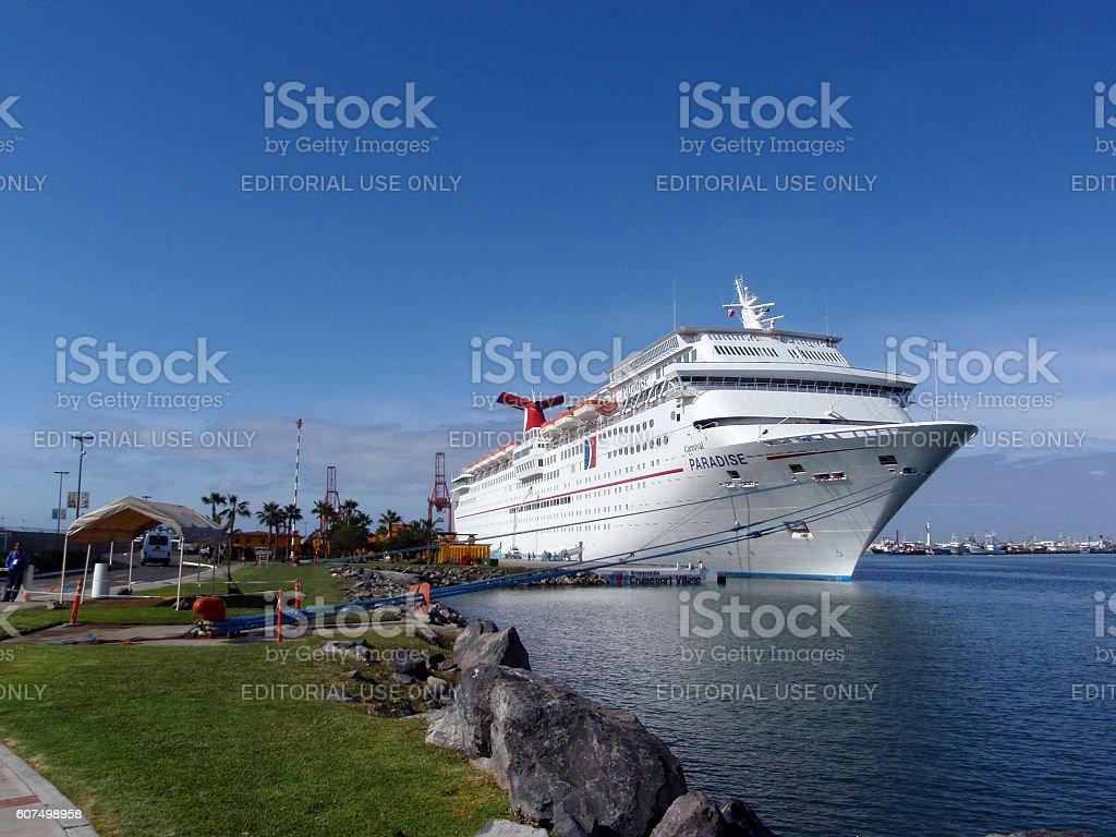 Cruise Ship - Carnival Paradise dock at Ensenada stock photo