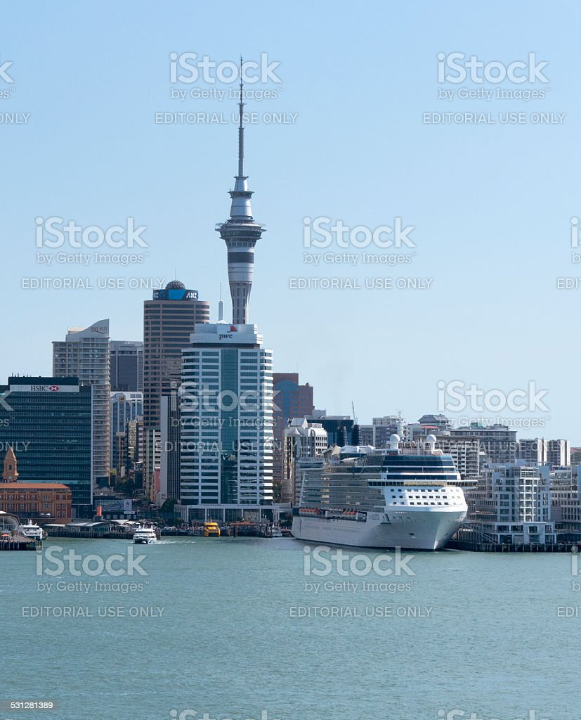 Cruise ship Celebrity Solstice docked in Auckland January 2015 stock photo