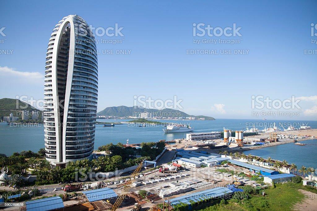 Cruise ship coming in to Sanya, Hainan Island, China stock photo