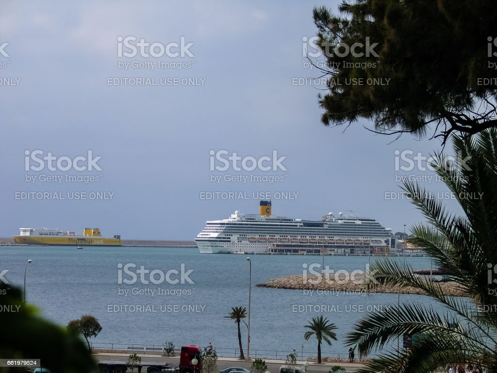 Cruise ship Costa Concordia moored in the port in Palma De Mallorca, Balearic Islands,  Spain on September 5, 2007. royalty-free stock photo
