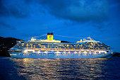 Road Town, Tortola, BVI - February 8, 2015: Costa Fortuna Cruise liner docked in the Caribbean island of Tortola