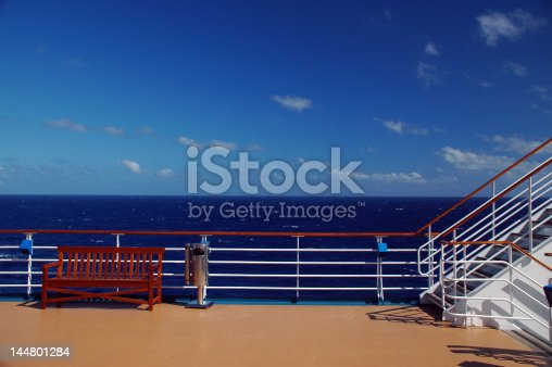 View of Ocean from Cruise Ship Deck including Railing Stairs and Bench