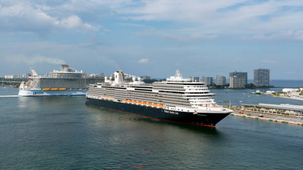 Cruise ship departs on a Caribbean Cruise from Port Everglades, Florida stock photo