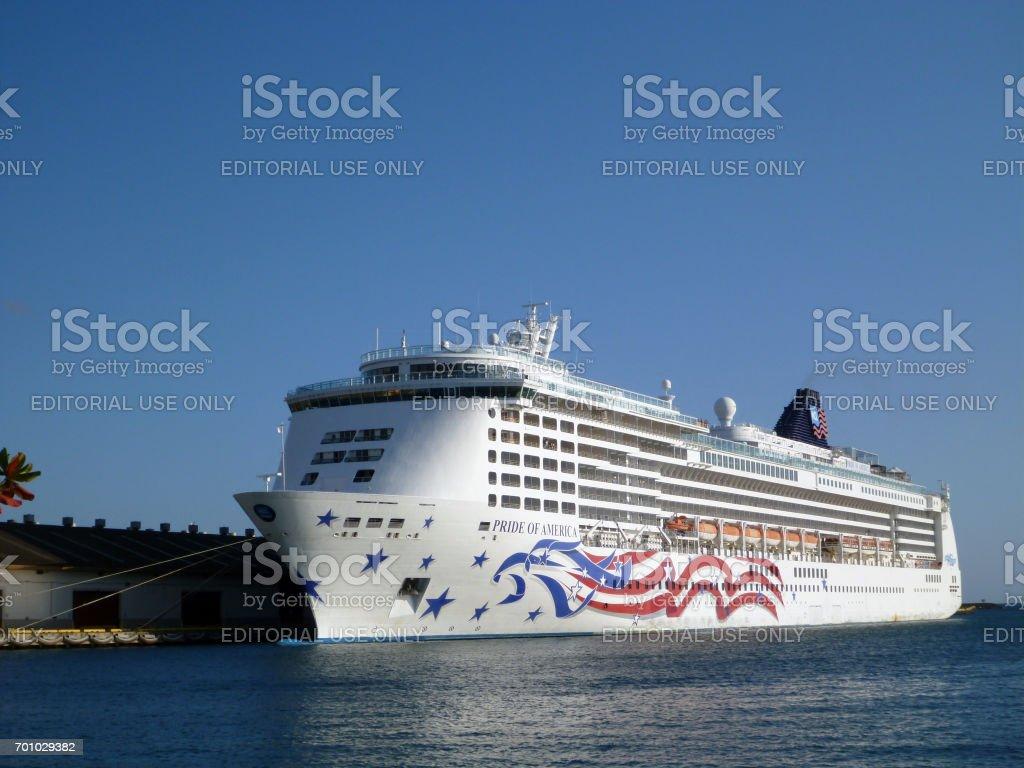 Cruise ship docked in Honolulu Harbor stock photo
