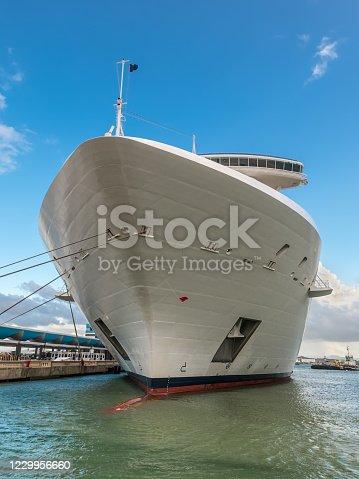 istock Cruise ship docked in port 1229956660