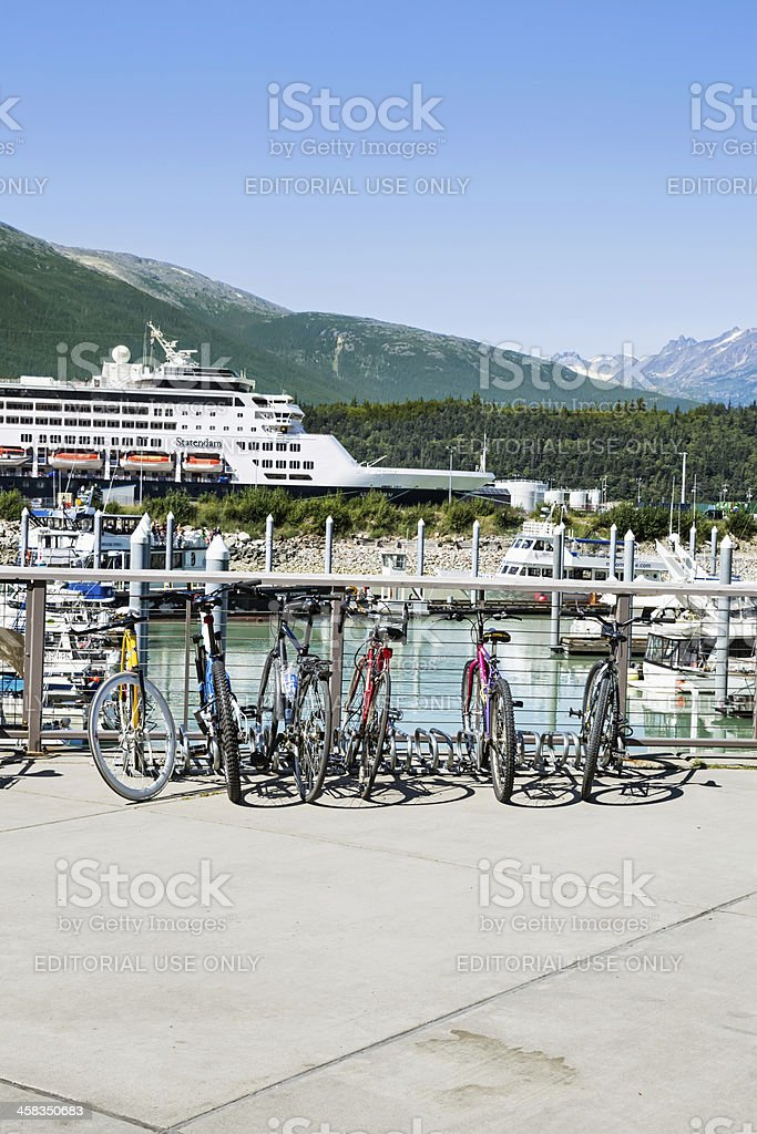 Cruise ship docked in Skagway, Alaska stock photo