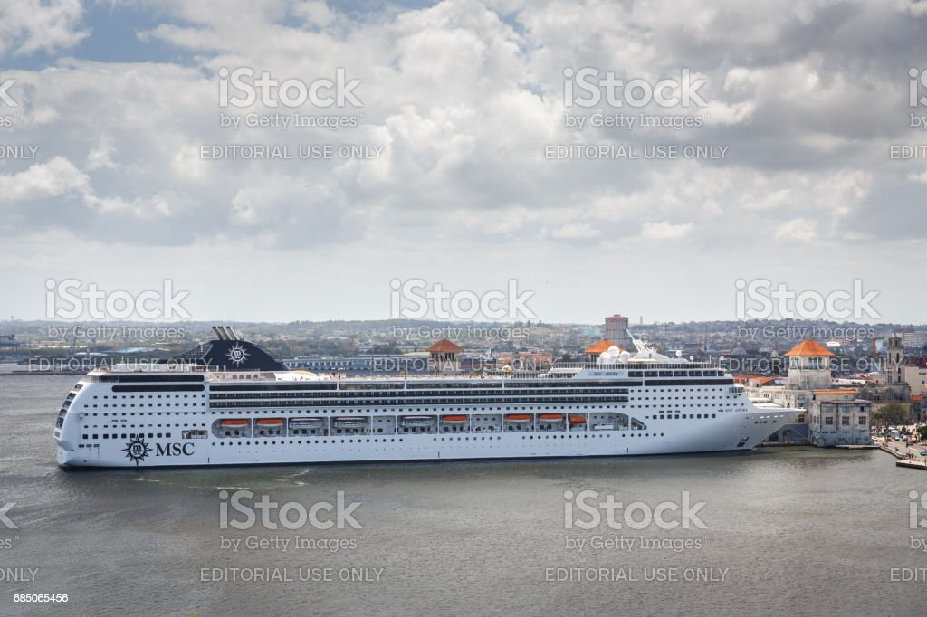 Cruise ship docked near the Havanna old town royalty-free stock photo