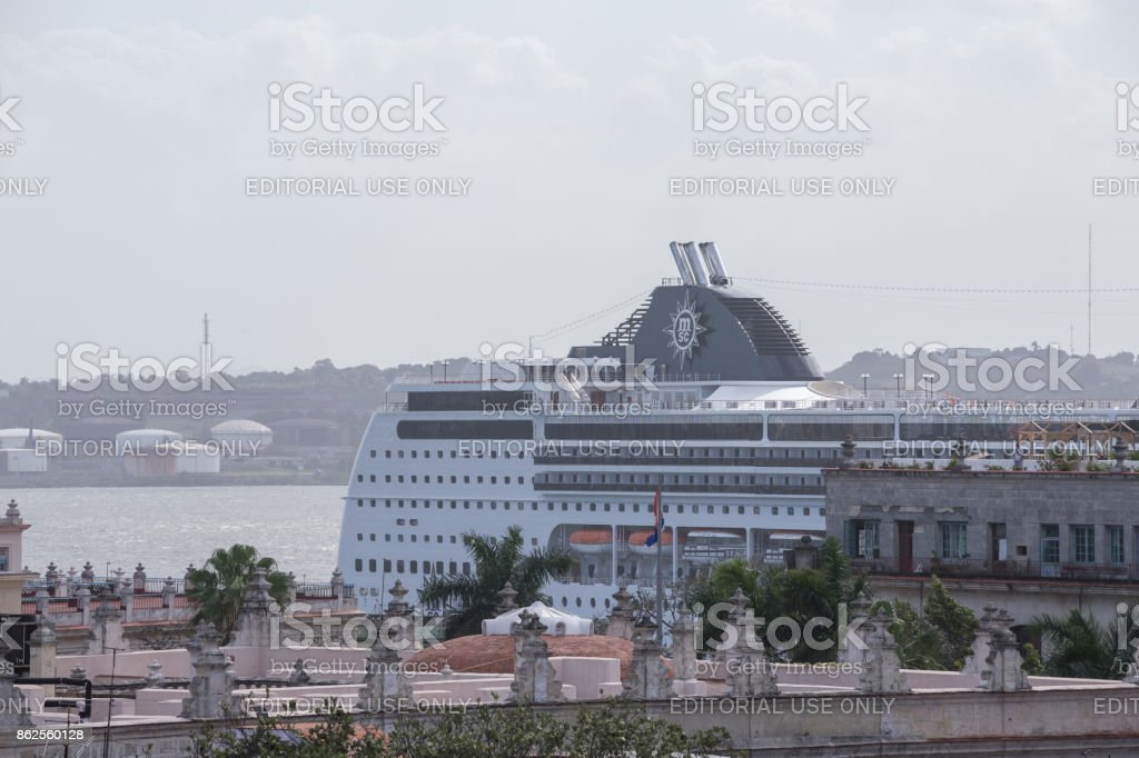 Cruise ship docked near the Havanna old town stock photo