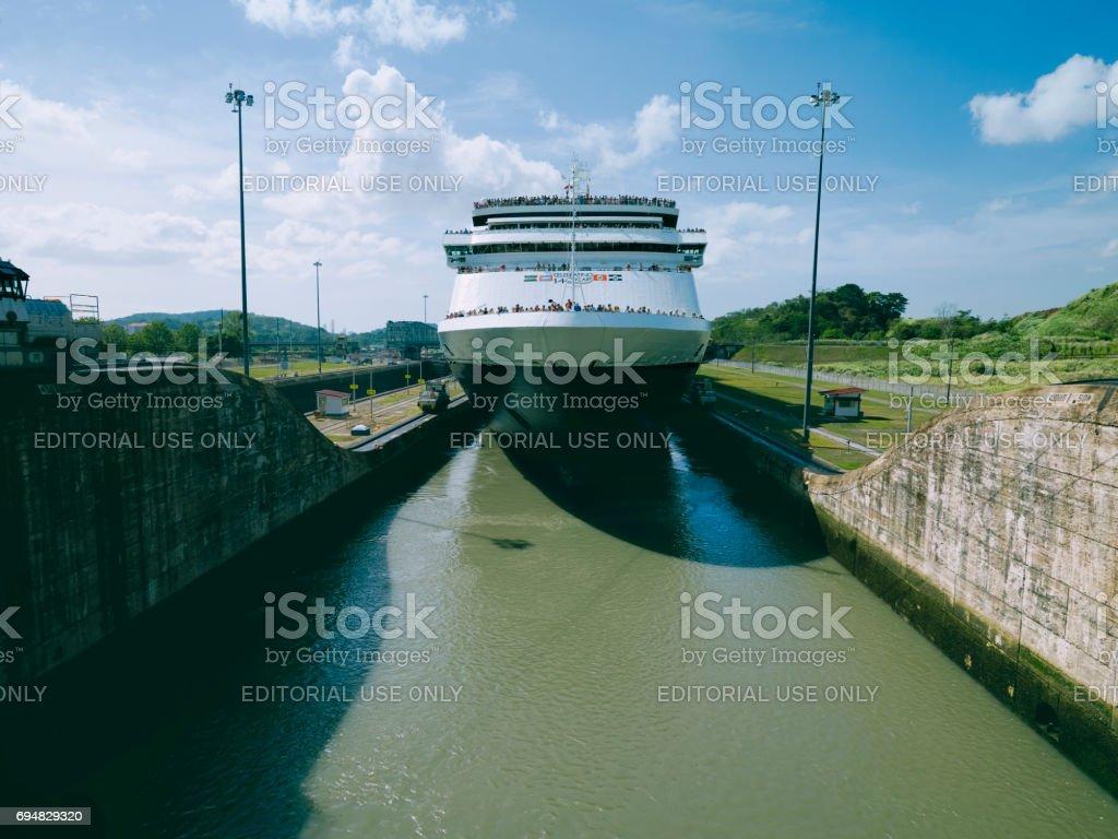 Cruise ship enters Miraflores Locks at Panama Canal stock photo
