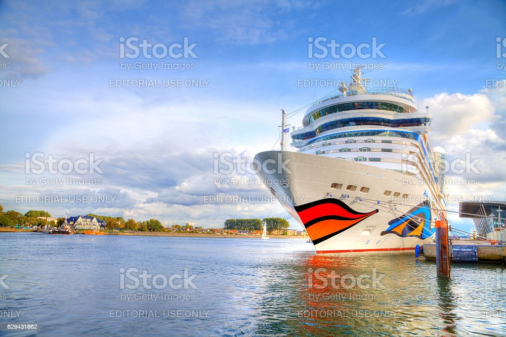 cruise ship from AIDA lies in harbour warnemuende / germany stock photo