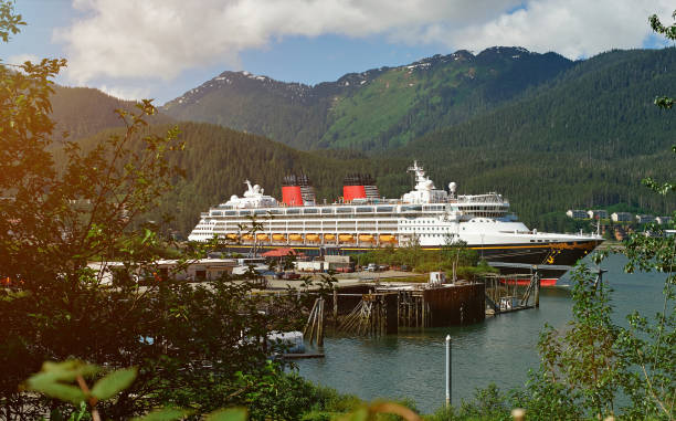 Cruise ship in Alaska port Cruise ship in Alaska port on day. Tourism on cruise line to alaska mountain mooring stock pictures, royalty-free photos & images