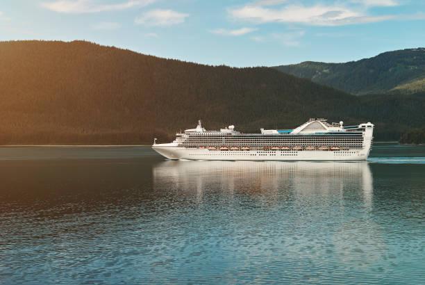 Cruise ship in Alaskan landscape stock photo