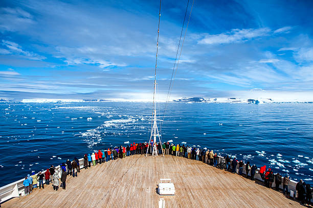 Cruise Ship in Antarctica stock photo