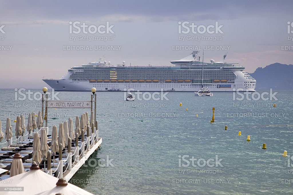 Cruise Ship in Cannes Bay Sunny Haze royalty-free stock photo