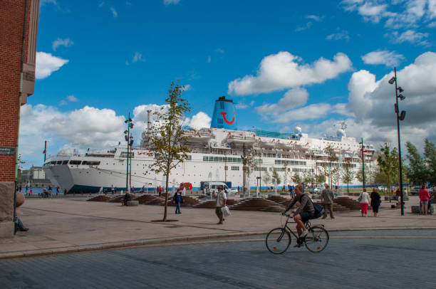 A cruise ship in central Aalborg in Denmark stock photo