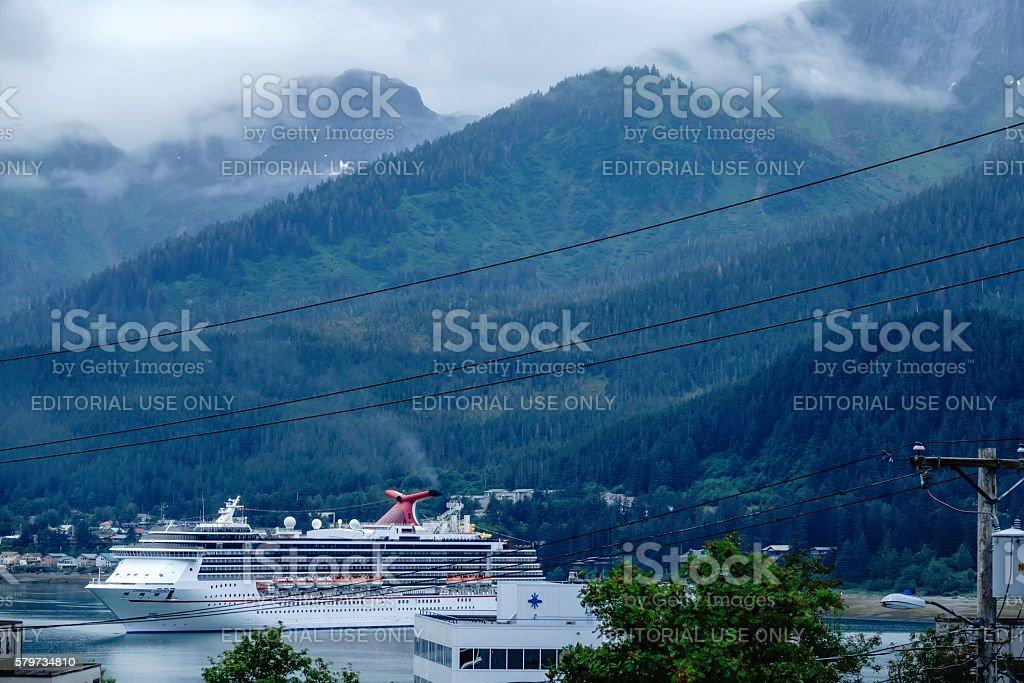 Cruise ship in Juneau stock photo