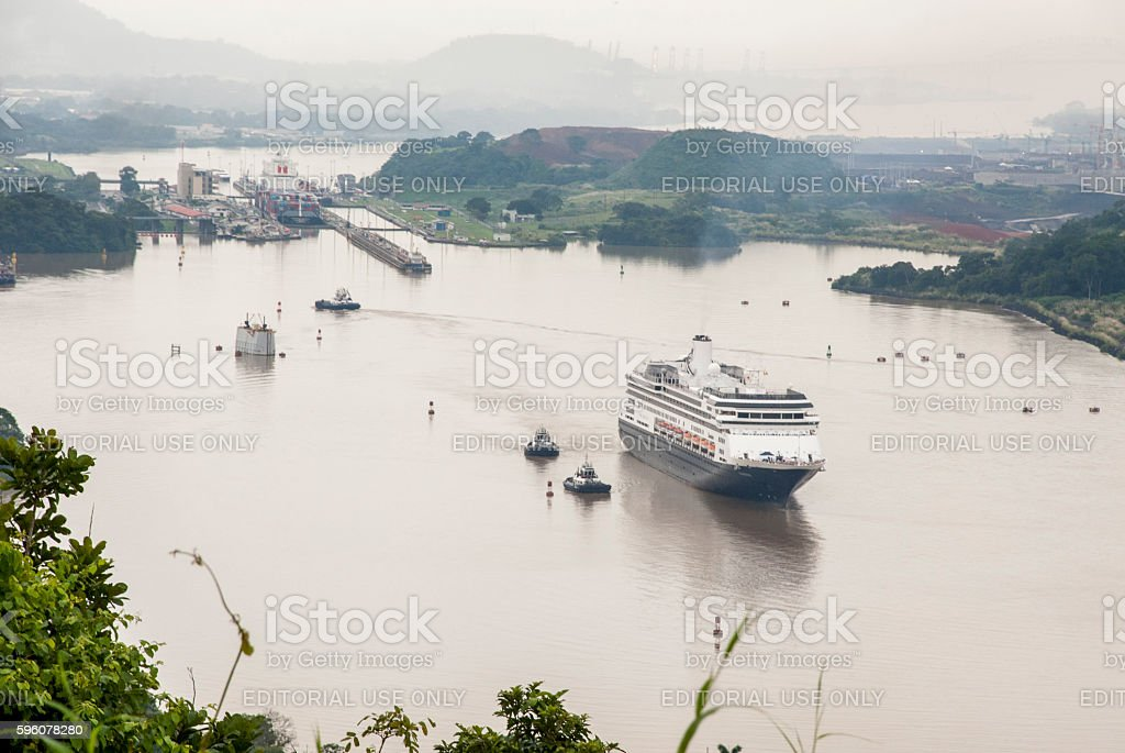 Cruise ship in Panama Canal royalty-free stock photo