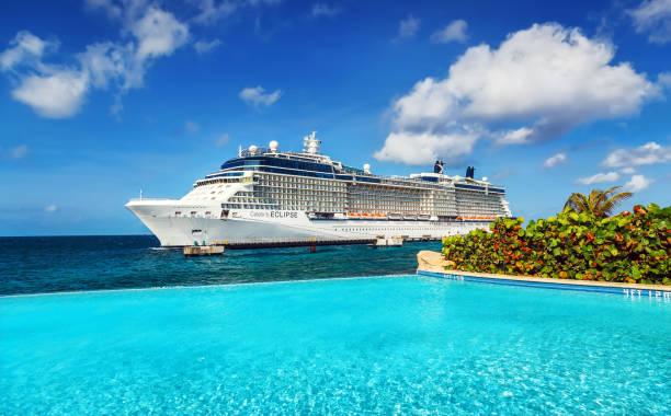 cruise gemi limanda - gemi seyahatı stok fotoğraflar ve resimler