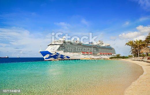 istock Cruise ship in port 1071144616