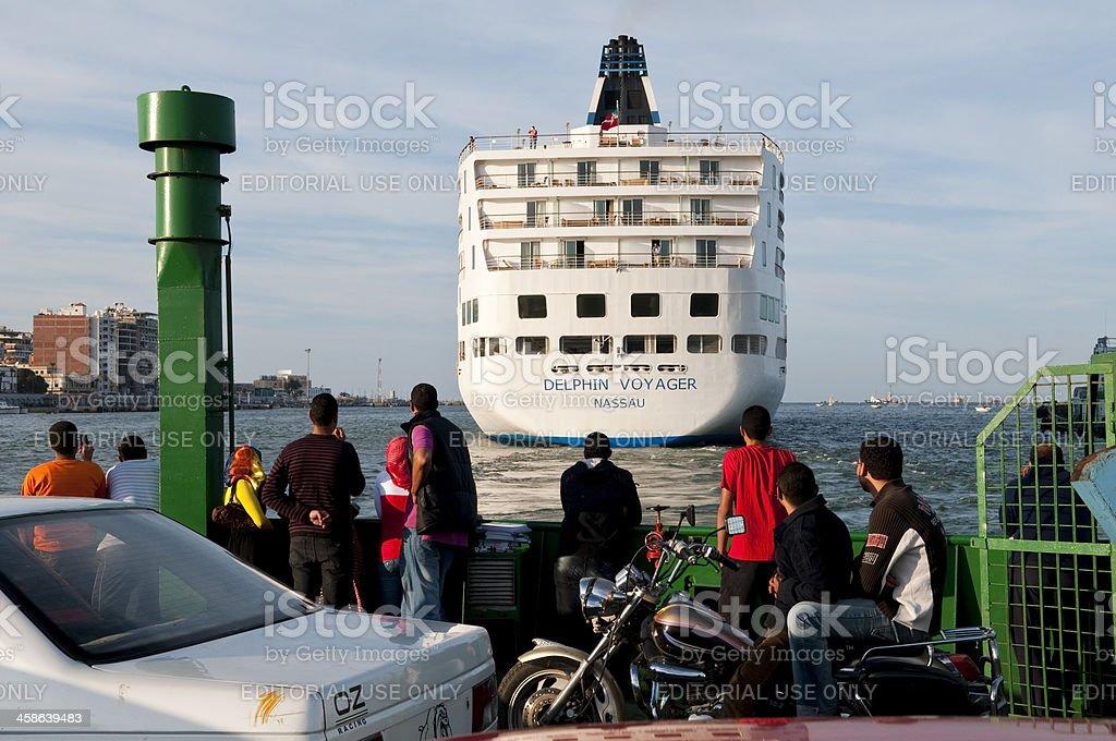 Cruise ship in Suez Canal stock photo