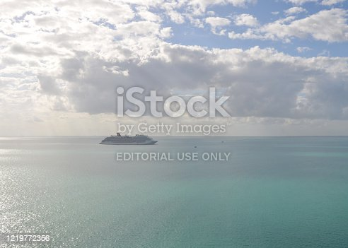 Belize City, Belize -- January 24, 2019: Looking out at a cruise ship on the Caribbean Sea after a stop at Belize City in Central America.