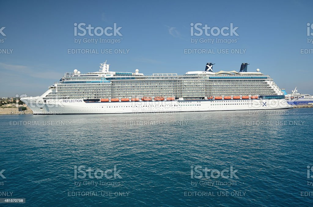 Cruise ship in the port of Rhodes. stock photo