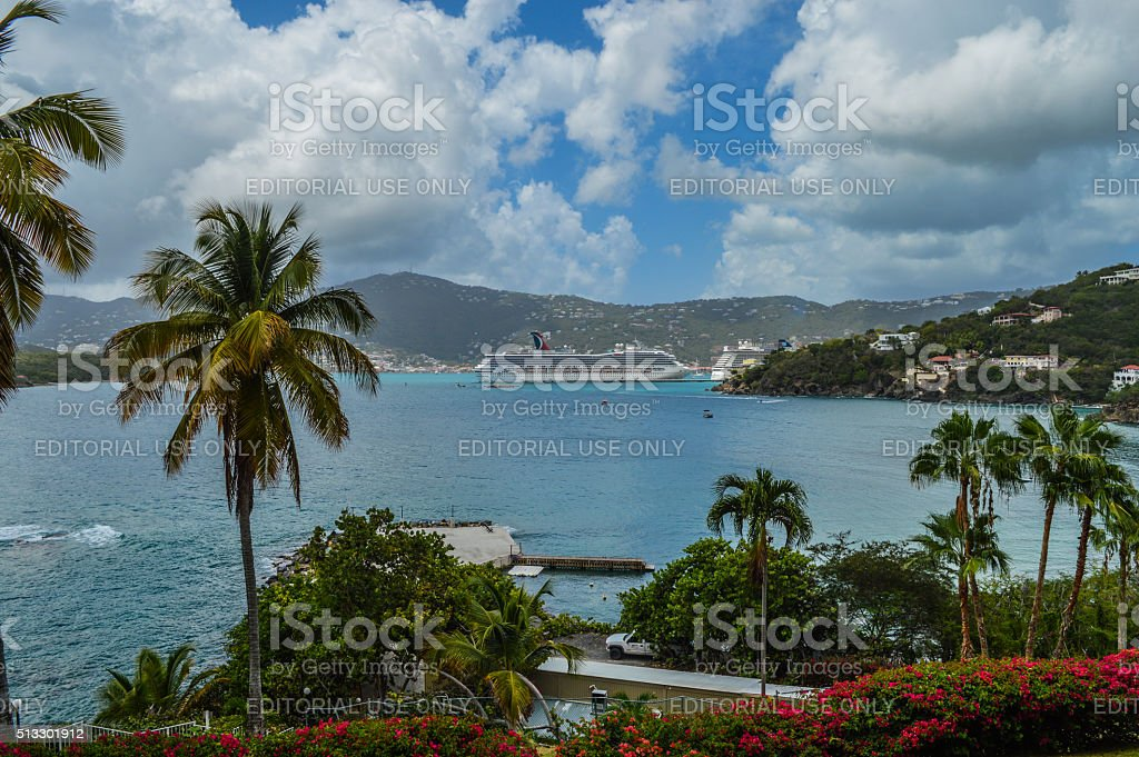 Cruise ship in the tropical Virgin Islands stock photo