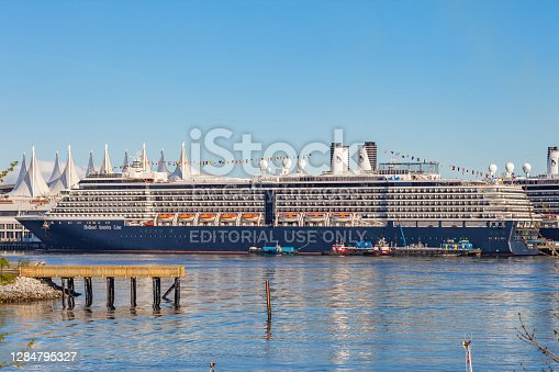 istock Cruise ship in Vancouver Harbour Canada Holland America Line 1284795327