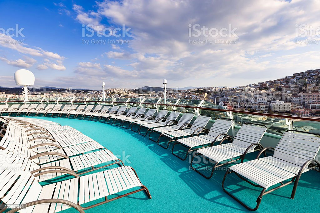 Cruise ship lounge chairs royalty-free stock photo