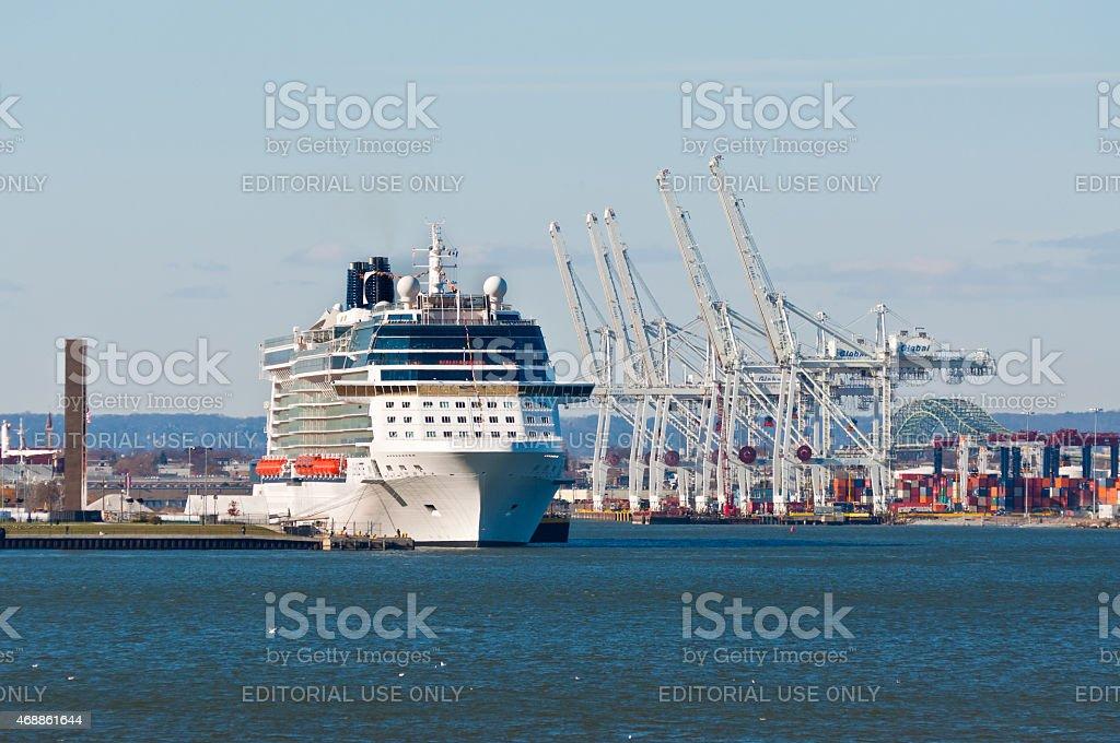 Cruise Ship moored at Port-Bayonne, NJ, USA stock photo