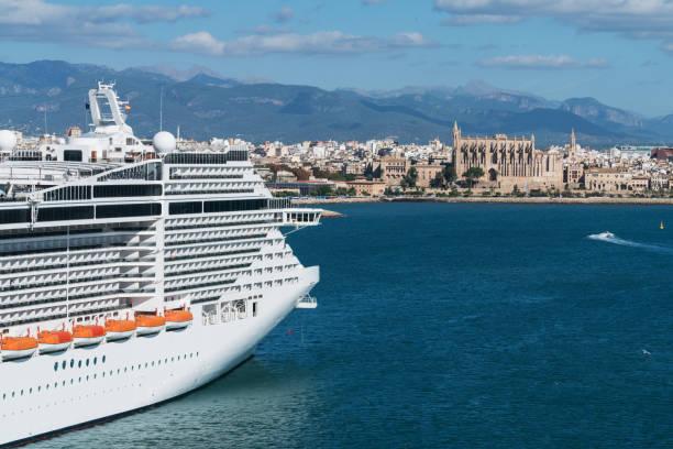 Cruise ship moored at the port of Palma de Mallorca stock photo