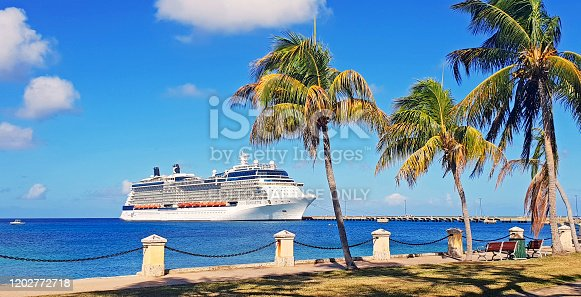Frederiksted, St. Croix - february 13, 2019: Luxury cruise ship Celebrity Silhouette moored in Frederiksted, city on St. Croix, US Virgin island