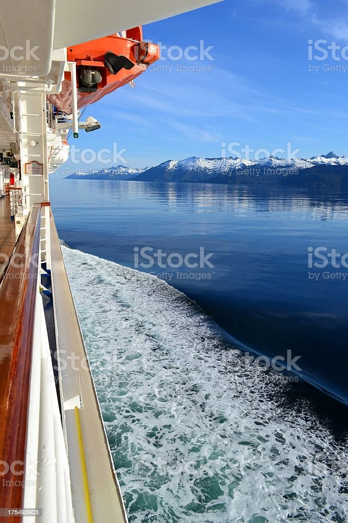 Cruise Ship Moves Past Snow Covered Mountains Inside Passage Alaska stock photo