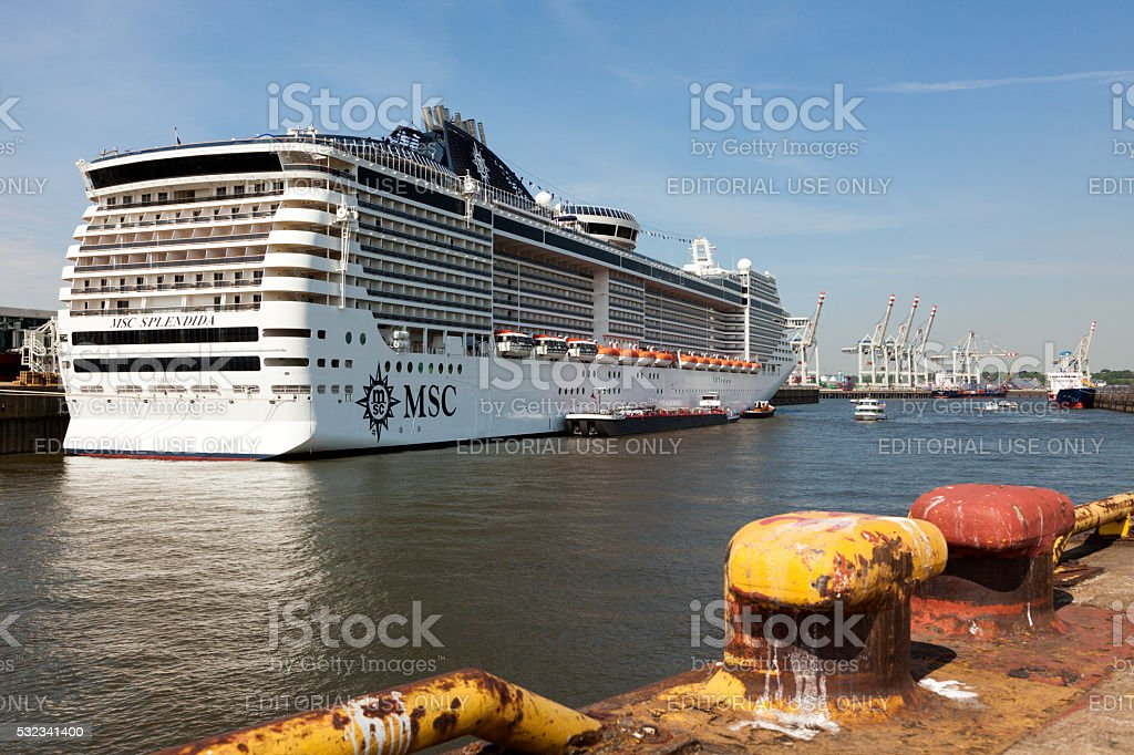 Cruise ship MSC Splendida at the port of Hamburg stock photo