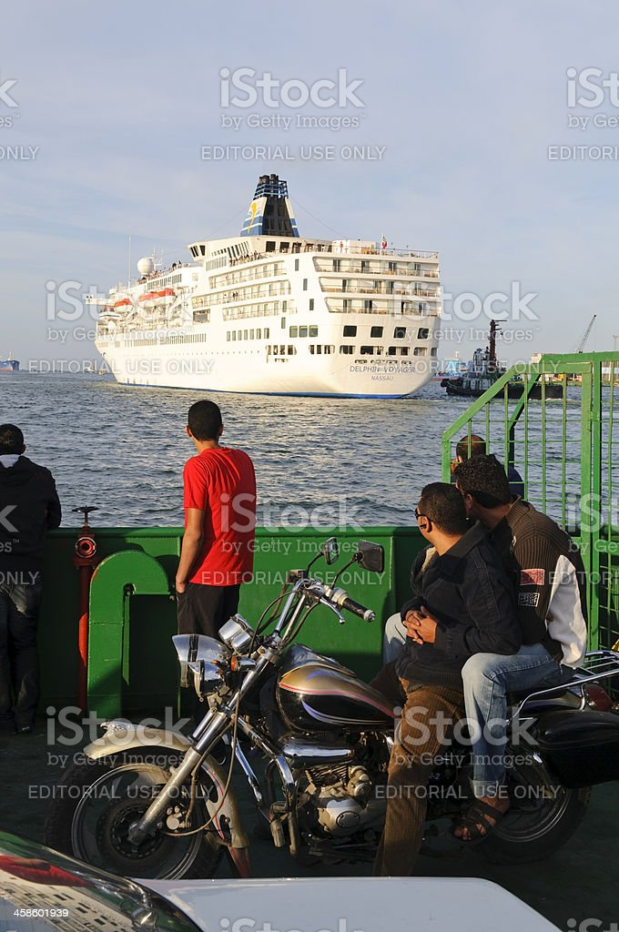 Cruise ship and ferry in Suez Canal stock photo
