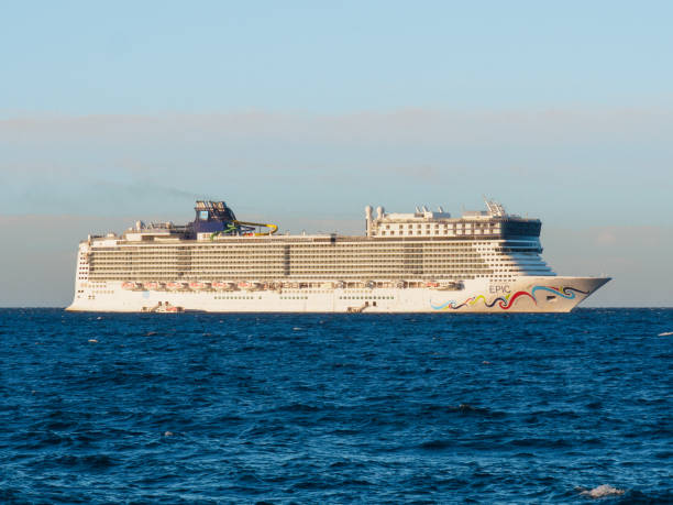 A cruise ship of the Norwegian Epic shipping company on the coast of Cannes. Cannes, France - August 11 2017: A cruise ship of the Norwegian Epic shipping company on the coast of Cannes. norwegian culture stock pictures, royalty-free photos & images