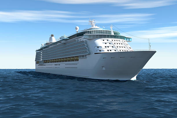 cruise ship, on blue sky with clouds (xxxl) - cruise ship stock photos and pictures