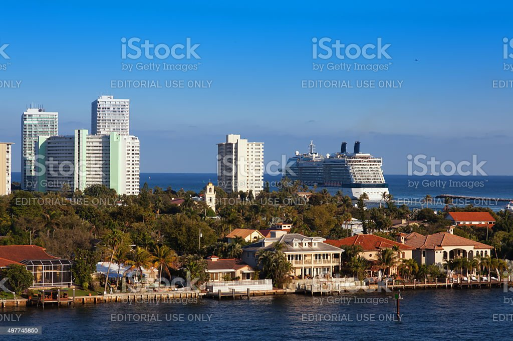 Cruise Ship out to Sea stock photo